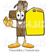 Illustration of a Cartoon Christian Cross Mascot Holding a Yellow Sales Price Tag by Toons4Biz