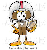 Illustration of a Cartoon Christian Cross Mascot in a Helmet, Holding a Football by Toons4Biz
