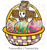 Illustration of a Cartoon Christian Cross Mascot in an Easter Basket Full of Decorated Easter Eggs by Toons4Biz