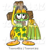 Illustration of a Cartoon Christian Cross Mascot in Green and Yellow Snorkel Gear by Toons4Biz