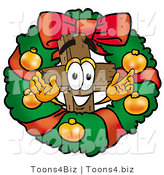 Illustration of a Cartoon Christian Cross Mascot in the Center of a Christmas Wreath by Toons4Biz