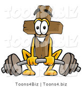 Illustration of a Cartoon Christian Cross Mascot Lifting a Heavy Barbell by Toons4Biz