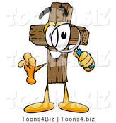 Illustration of a Cartoon Christian Cross Mascot Looking Through a Magnifying Glass by Toons4Biz