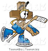 Illustration of a Cartoon Christian Cross Mascot Playing Ice Hockey by Toons4Biz