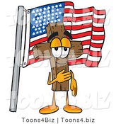 Illustration of a Cartoon Christian Cross Mascot Pledging Allegiance to an American Flag by Toons4Biz