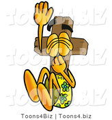 Illustration of a Cartoon Christian Cross Mascot Plugging His Nose While Jumping into Water by Toons4Biz
