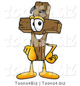 Illustration of a Cartoon Christian Cross Mascot Pointing at the Viewer by Toons4Biz