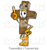 Illustration of a Cartoon Christian Cross Mascot Pointing Upwards by Toons4Biz