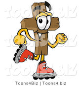 Illustration of a Cartoon Christian Cross Mascot Roller Blading on Inline Skates by Toons4Biz