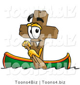 Illustration of a Cartoon Christian Cross Mascot Rowing a Boat by Toons4Biz