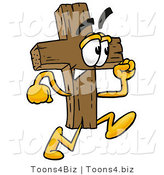 Illustration of a Cartoon Christian Cross Mascot Running by Toons4Biz