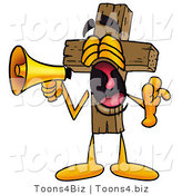 Illustration of a Cartoon Christian Cross Mascot Screaming into a Megaphone by Toons4Biz