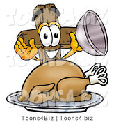 Illustration of a Cartoon Christian Cross Mascot Serving a Thanksgiving Turkey on a Platter by Toons4Biz