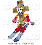 Illustration of a Cartoon Christian Cross Mascot Skiing Downhill by Toons4Biz