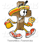 Illustration of a Cartoon Christian Cross Mascot Speed Walking or Jogging by Toons4Biz