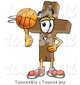 Illustration of a Cartoon Christian Cross Mascot Spinning a Basketball on His Finger by Toons4Biz