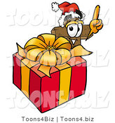 Illustration of a Cartoon Christian Cross Mascot Standing by a Christmas Present by Toons4Biz
