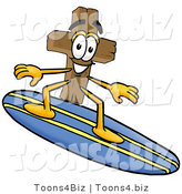 Illustration of a Cartoon Christian Cross Mascot Surfing on a Blue and Yellow Surfboard by Toons4Biz