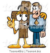 Illustration of a Cartoon Christian Cross Mascot Talking to a Business Man by Toons4Biz
