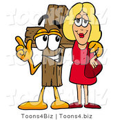 Illustration of a Cartoon Christian Cross Mascot Talking to a Pretty Blond Woman by Toons4Biz