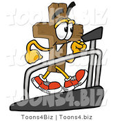 Illustration of a Cartoon Christian Cross Mascot Walking on a Treadmill in a Fitness Gym by Toons4Biz