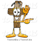 Illustration of a Cartoon Christian Cross Mascot Waving and Pointing by Toons4Biz