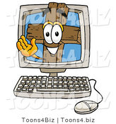 Illustration of a Cartoon Christian Cross Mascot Waving from Inside a Computer Screen by Toons4Biz