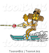 Illustration of a Cartoon Christian Cross Mascot Waving While Water Skiing by Toons4Biz