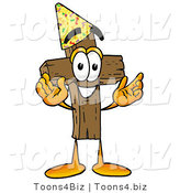 Illustration of a Cartoon Christian Cross Mascot Wearing a Birthday Party Hat by Toons4Biz