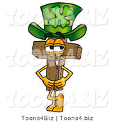 Illustration of a Cartoon Christian Cross Mascot Wearing a Saint Patricks Day Hat with a Clover on It by Toons4Biz