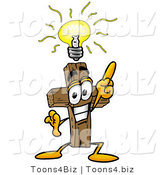 Illustration of a Cartoon Christian Cross Mascot with a Bright Idea by Toons4Biz