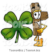 Illustration of a Cartoon Christian Cross Mascot with a Green Four Leaf Clover on St Paddy's or St Patricks Day by Toons4Biz