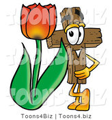 Illustration of a Cartoon Christian Cross Mascot with a Red Tulip Flower in the Spring by Toons4Biz