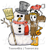 Illustration of a Cartoon Christian Cross Mascot with a Snowman on Christmas by Toons4Biz
