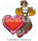 Illustration of a Cartoon Christian Cross Mascot with an Open Box of Valentines Day Chocolate Candies by Toons4Biz