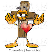 Illustration of a Cartoon Christian Cross Mascot with His Heart Beating out of His Chest by Toons4Biz
