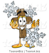 Illustration of a Cartoon Christian Cross Mascot with Three Snowflakes in Winter by Toons4Biz