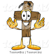Illustration of a Cartoon Christian Cross Mascot with Welcoming Open Arms by Toons4Biz