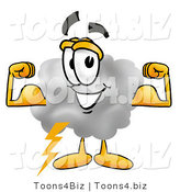 Illustration of a Cartoon Cloud Mascot Flexing His Arm Muscles by Toons4Biz