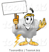 Illustration of a Cartoon Cloud Mascot Holding a Blank Sign by Toons4Biz