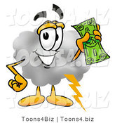 Illustration of a Cartoon Cloud Mascot Holding a Dollar Bill by Toons4Biz