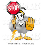 Illustration of a Cartoon Cloud Mascot Holding a Stop Sign by Toons4Biz