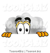 Illustration of a Cartoon Cloud Mascot Peeking over a Surface by Toons4Biz
