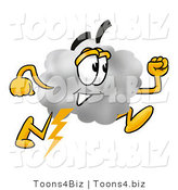 Illustration of a Cartoon Cloud Mascot Running by Toons4Biz