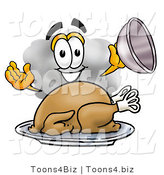 Illustration of a Cartoon Cloud Mascot Serving a Thanksgiving Turkey on a Platter by Toons4Biz