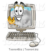 Illustration of a Cartoon Cloud Mascot Waving from Inside a Computer Screen by Toons4Biz