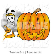 Illustration of a Cartoon Cloud Mascot with a Carved Halloween Pumpkin by Toons4Biz