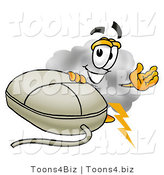 Illustration of a Cartoon Cloud Mascot with a Computer Mouse by Toons4Biz