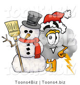 Illustration of a Cartoon Cloud Mascot with a Snowman on Christmas by Toons4Biz