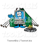 Illustration of a Cartoon Computer Mascot Camping with a Tent and Fire by Toons4Biz